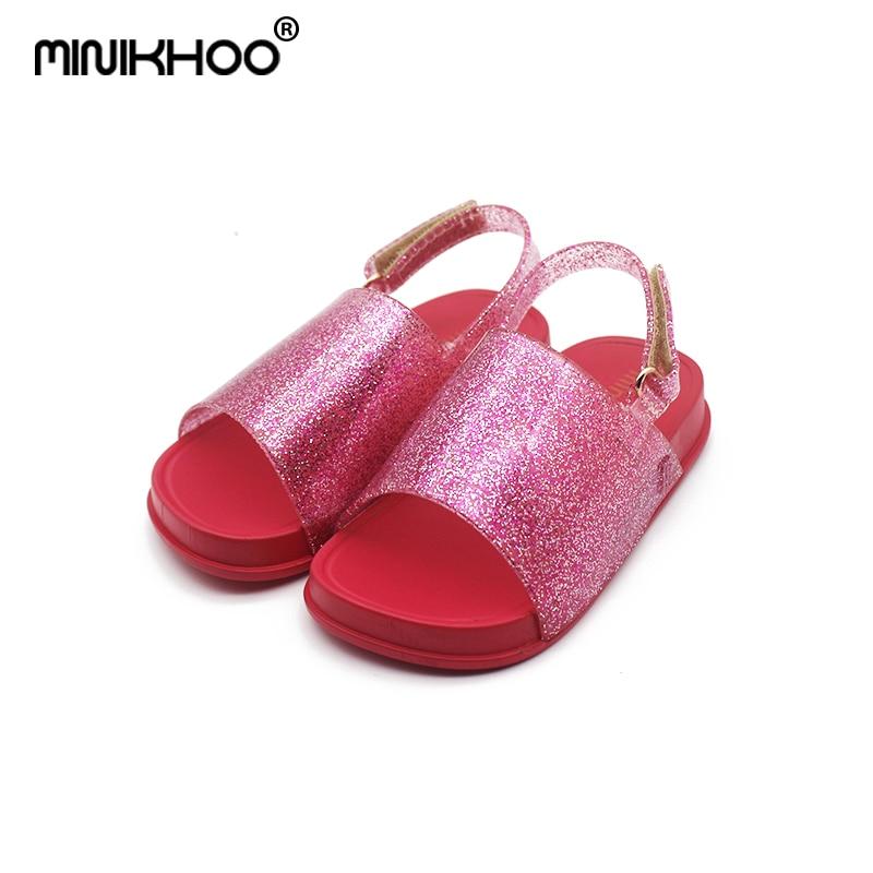 Mini Melissa 2018 New Girls Boys Sandals Children Shoes Melissa Glitter Princess Shoes Jelly Soft Sandals Non-slip 14cm-16.cm