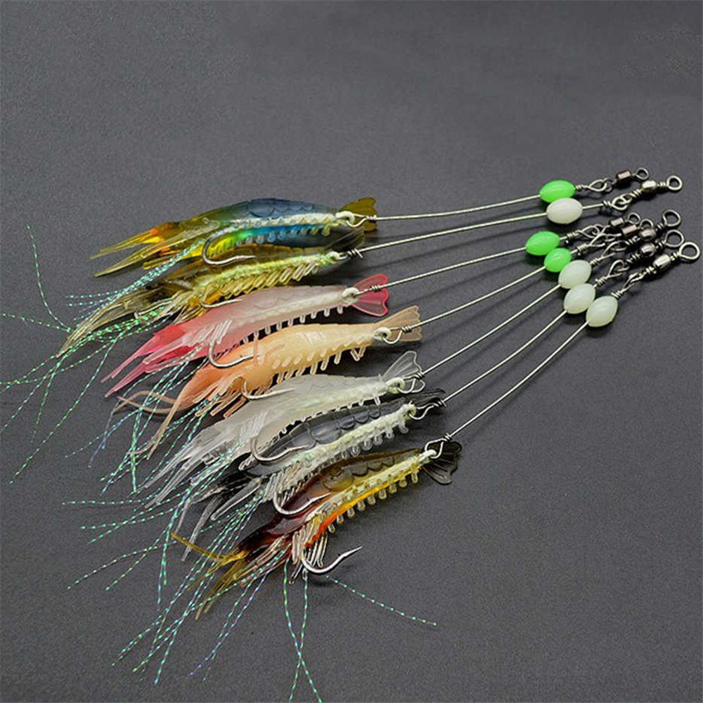 7pcs/lot 8cm 5g Luminous Shrimp Silicon Soft  Artificial Bait With Hooks Swivels Anzois Para Pesca Sabiki Rigs Fishing Tackle
