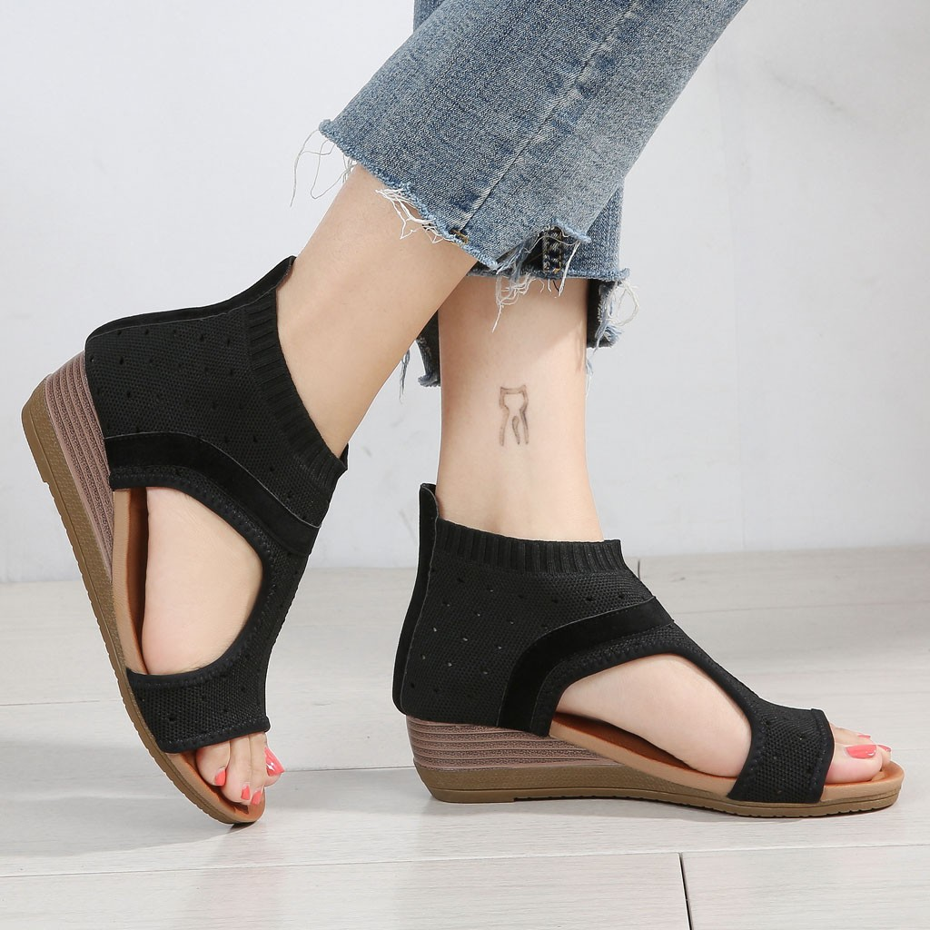 Retro Women Ethnic Style Sandals Roman Shoes Platform Wedge Sandals Gladiator Shoes Women Sandals Summer Travel Shoes Large Size in Middle Heels from Shoes