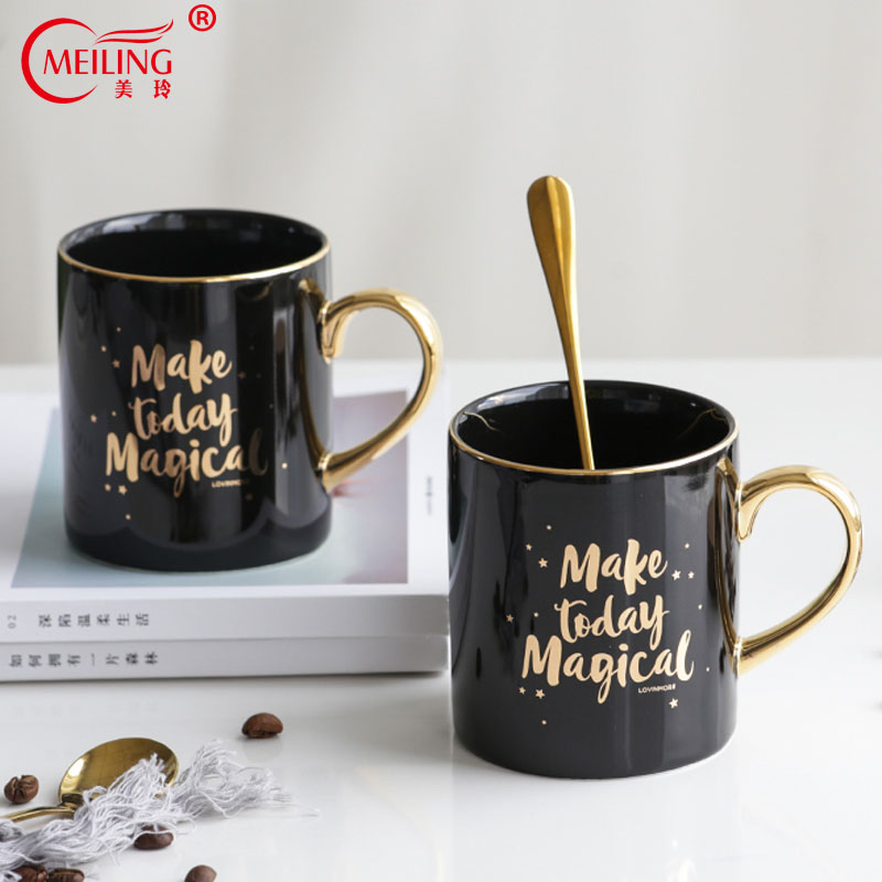 Make Today Magical Cup Black Gold Coffee Mug Porcelain Bone China Personalized Gift For Mom Ceramic Table Office Cups And Mugs image
