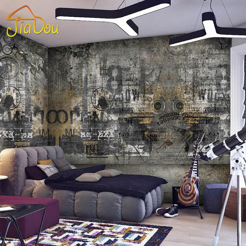 custom any size european style street graffiti art personality bedroom living room ktv retro 3d. Black Bedroom Furniture Sets. Home Design Ideas