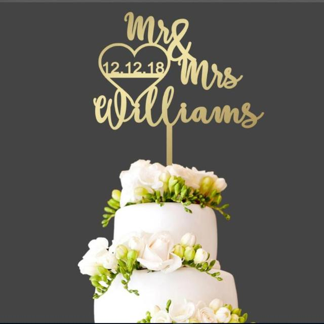 Customized Wedding Cake Topper Date Last Name Decorations