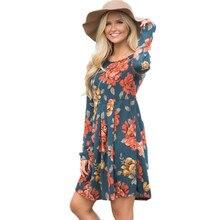 Осень 2017 г. Chic Цветочный Цветок Роза печатных Для женщин Пляжное Платье милое в богемном стиле с длинным рукавом линия Мини женские горячие Vestido