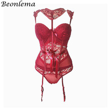 BEONLEMA See through Red Hot Lingerie Corset Bra Belt Sexy Floral Lace Bustiers Charming Strappy Transparent Underwear Women