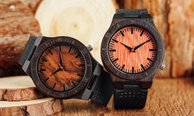Fashion Minimalist Natural Bamboo Wooden Watches Vintage Handmade Black Leather Wood Mens Sports Quartz Wristwatch Gift Relojes
