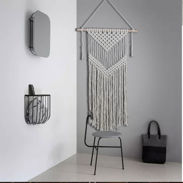 White Bohemian Hanging Chair Cover Rentals Peterborough Ontario Macrame Handmade Knitting Cotton Rope Tapestry Wall Tapisserie Banner Tassel Craft Home Decor Textiles