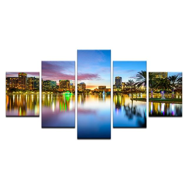 5 Panel Orlando City Skyline Canvas Print Florida Usa Wall Art Painting Set Room Decor