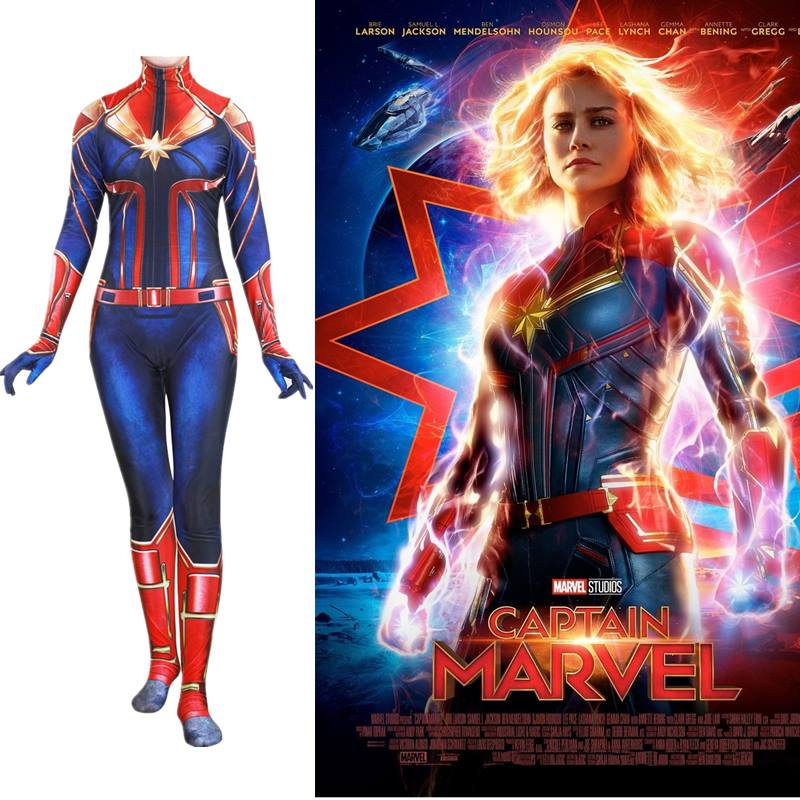 New 3D Movie Version Captain Marvel Cosplay Costume Ms Marvel Carol Danvers Brie Larson Zentai Jumpsuits Halloween Suits