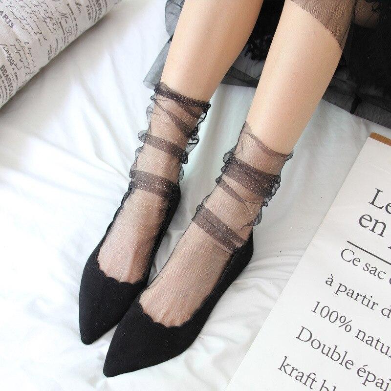 Shiny Tulle Socks Transparent Ultra-thin Mesh Socks For Women Lady Sexy Long Loose Socks Female Dress Hosiery Street Happy Socks