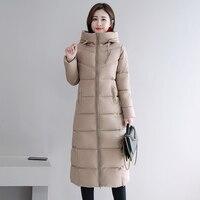 Большие размеры 4XL 5XL 6XL, женские зимние куртки с капюшоном и воротником-стойкой, Женское пальто с хлопковой подкладкой, зимняя женская длинн...