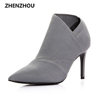 The New 2017 Black Fashion Ankle Boot Microfibers Pointed High Heeled One Foot Stirs The Bullet