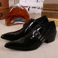 High Quality Business Men Shoes Black Patent Leather Oxford Shoes For Men Chaussure Homme Lace Up