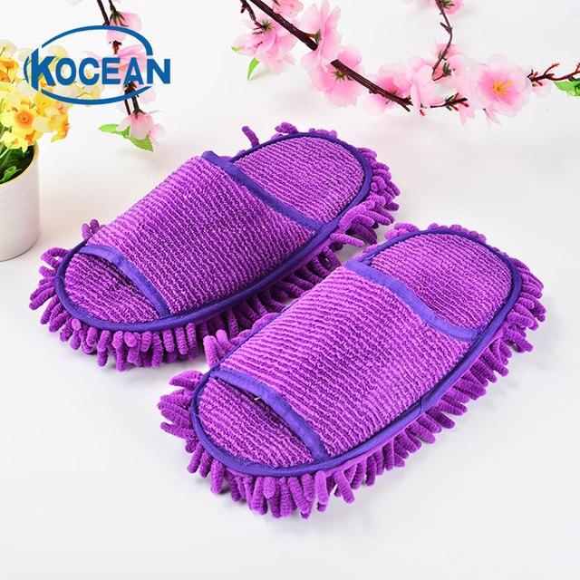 Floral microfibre chaussons nettoyage, Violet