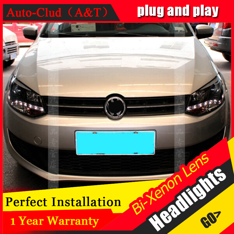 Auto Clud 2011 2012 For vw polo headlights Angel Eyes LED DRL bi xenon lens For