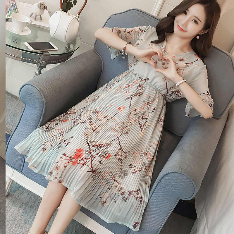 ... Pregnant Women Midi Pleated Chiffon Dress Floral Designs Summer  Pregnancy Clothes Loose Plus Size Maternity Dresses ... 1f597fb464cf