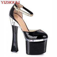Venta caliente nuevo de las mujeres señoras de la manera zapatos de tacón  alto negro zapatos de fiesta 18 cm sexy bailarina exót. 65fe4088c1bd