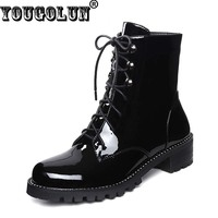 YOUGOLUN Winter Women Ankle Boots Genuine Patent Leather Thick Heels 4cm Shoes Fashion Cross Strap Shoes