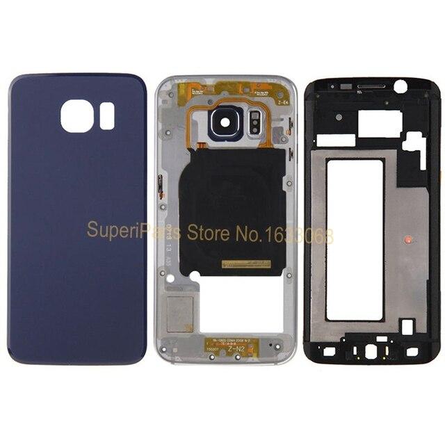 10 ШТ. Оригинальная Передняя Рамка + Ближний Рамка + Задняя Крышка Батареи для Samsung Galaxy S6 Edge G925 Полной Корпус с Логотипом Отслеживания