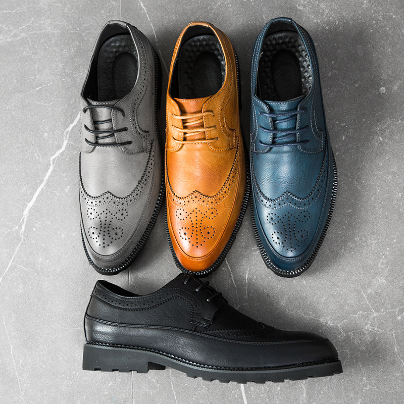 2019 Formal Shoes Men Pointed Toe Dress Shoes Leather Men Oxford Carved Brogue Shoes Man Fashion Dress Footwear Large Size 37-48