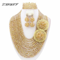 Fashionable African Beads Jewelry Sets Nigerian Wedding African Crystal Beads Jewelry Set HD2126