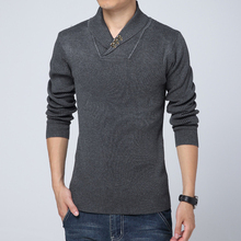 Hot Sell Men Autumn Winter Warm Skulls Sweaters Full Sleeve Solid Turn-Down Collar Fashion Casual Slim Pullovers Clothes Top New