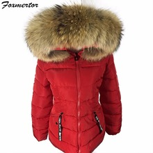 New 2017 Winter Jacket Women Real Large Raccoon Fur Collar Slim Women Coats Female Women's Jackets Warm High Quality #E939