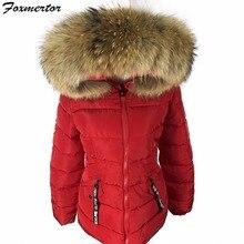 New 2016 Winter Jacket Women Real Large Raccoon Fur Collar Slim Women Coats Female Women's Jackets Warm High Quality #E939