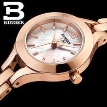 Switzerland Binger women's watches fashion luxury brand clock quartz sapphire full stainless steel Wristwatches B3035-2