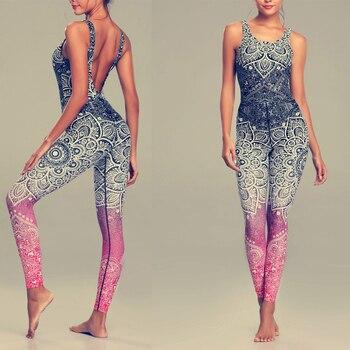 Γυναικεία ολόσωμη φόρμα ελαστική, αθλητική, κολάν με σχέδιο mandala