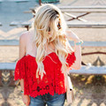 Women Red Off Shoulder Slash neck Blouses