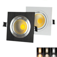 Square Silver/Black Dimmable COB Downlight lamp  6W10W 14W AC85-265V LED light indoor