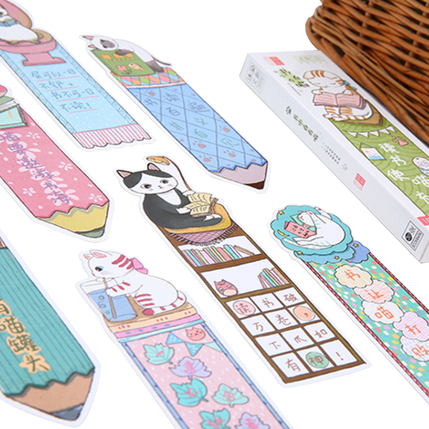 30Pcs/pack Cute Cat In Book Fashion Paper Bookmark For Books Stationery School Supplies