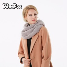 Winfox 2018 New Fashion Winter Shiny Beige Lurex Knitted Neck Warmer Two Circle Ring Collar Scarf For Womens Ladies