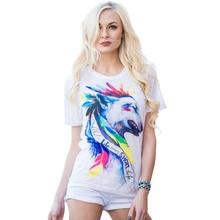 2016 Случайные Футболки Печать Camisetas Mujer Топы о-образным вырезом футболка Милые Тройники Femme WMT006