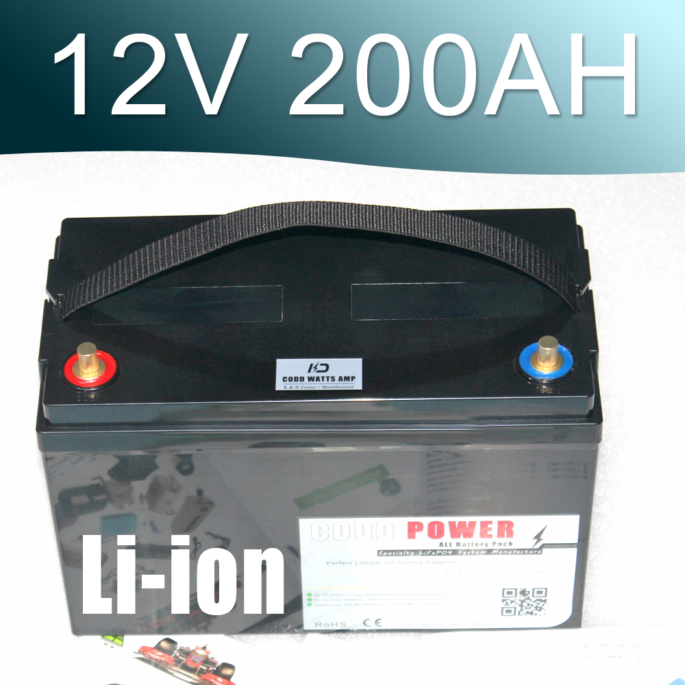12.6V 200AH Lithium ion Battery 12V Li-ion Waterproof IP68 Box for UPS Solar energy Golf Car
