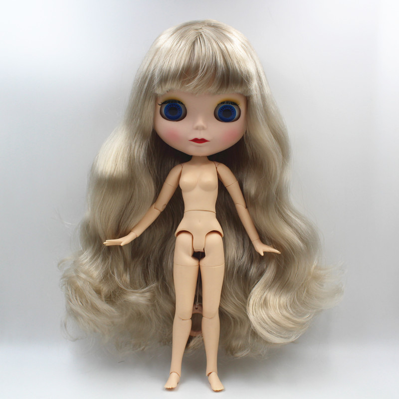 Blygirl,Blyth doll,Silvery wavy bangs, new dolls with 19 joints, matte and matte face shells, 1/6 dolls, nude dolls, can body free shipping blyth doll nude dolls colorful bangs hairy multi joint body 19 joint joints can be rotated to send hand group