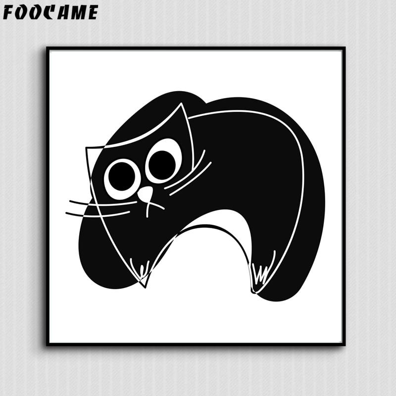 FOOCAME Cartoon Animal Μινιμαλιστική γάτα - Διακόσμηση σπιτιού - Φωτογραφία 5