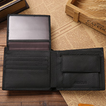 Genuine Leather Premium Mens Wallet  Short Black Wallet Purses