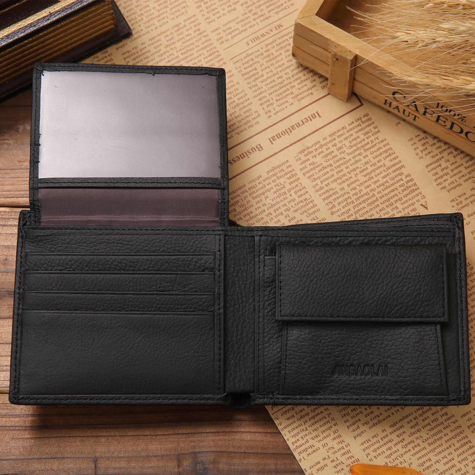 100% de cuero genuino para hombre billeteras de piel de vaca Real de producto Premium para hombre corto negro Walet portefeulle Homme monederos cortos