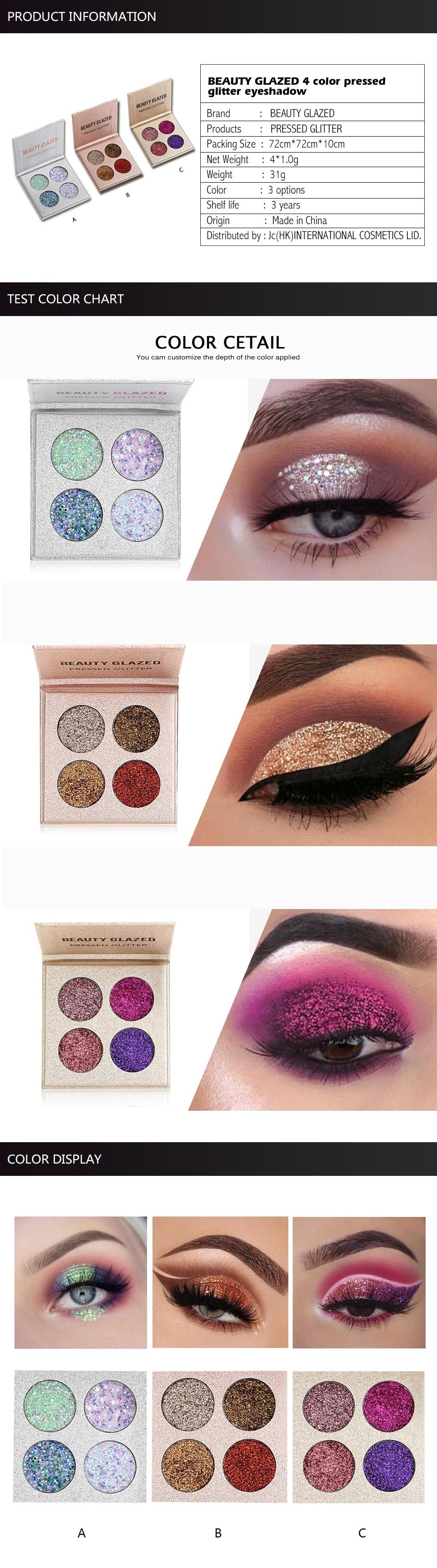 Beauty glazed 4 color glitters diamond eyeshadow palette long b19 b191 b192 geenschuldenfo Gallery