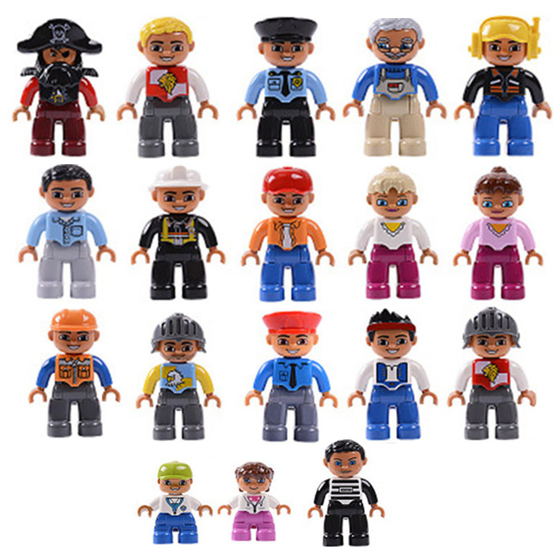 Single Sale Duploe Family Profession Building Blocks Character Figures Duploed Toys For Kids Christmas Gifts