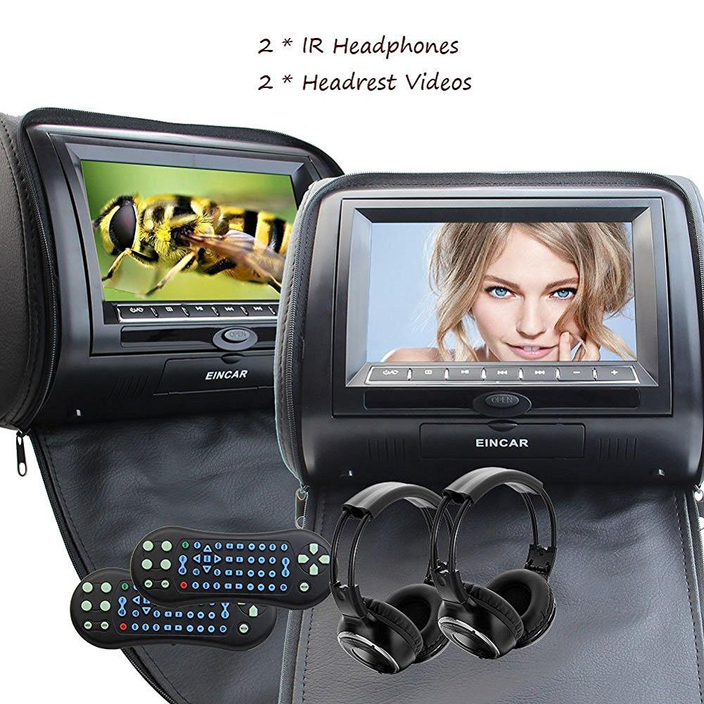 Eincar Black 2x7 Digital Screen zipper Car Headrest CD DVD Player USB FM Game Disc Remote Control with IR Wireless Headsets eincar car 9 inch car dvd pillow headrest two monitor lcd screen usb sd 32 bit game fm ir multimedia player free 2 ir headphones