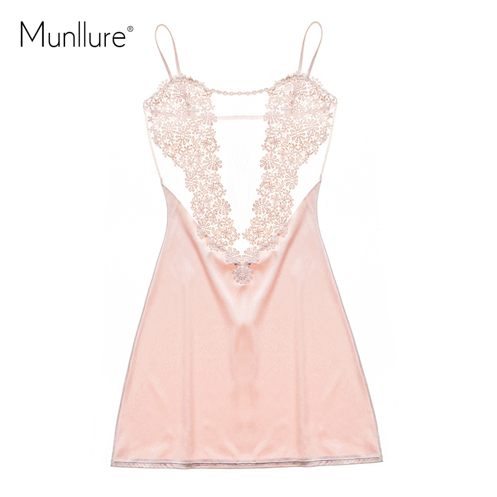 Munllure 2017 Satin Solide Sexy Pyjamas avec Dentelle Floral Pyjama Femme Mode Femmes Chemise De Nuit Homewear pour Dames