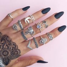 2018 Bohemian Style 13pcs/Pack Vintage Anti Color Rings Moon Lucky Rings Set for Women Party drop shipping(China)