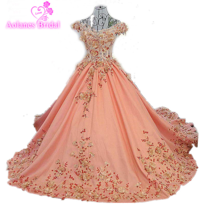 AOLANES Vestido De Festa Pink Crystals Ball Gown Long Luxury Evening Dresses 2017 Real Photos Lace Prom Gowns Robe De Soiree