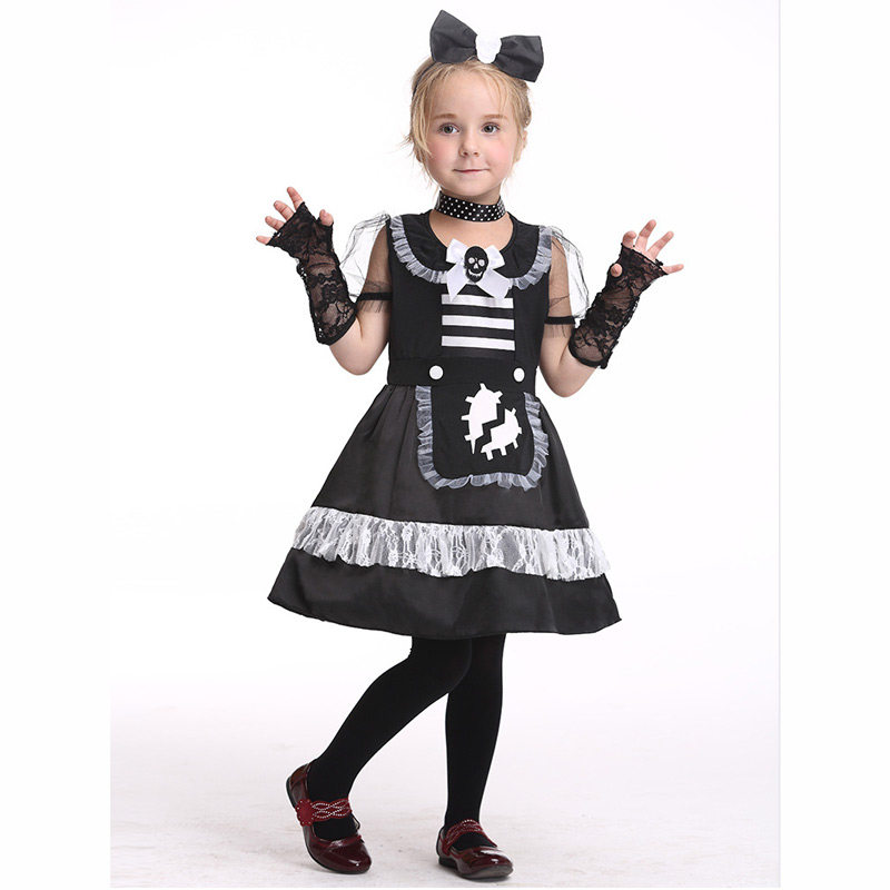 Halloween Costumes for Kids Cosplay Maid costume gloves dress Stage Outfits for Children Set Infant Girls Clothes for Party