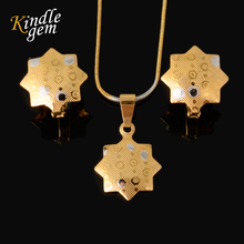 Lovely Star Pure Gold Silver Two Color For Party Wedding Daily Ladies Girl Jewelry Sets Fashion Necklace Stud Earrings Pendant