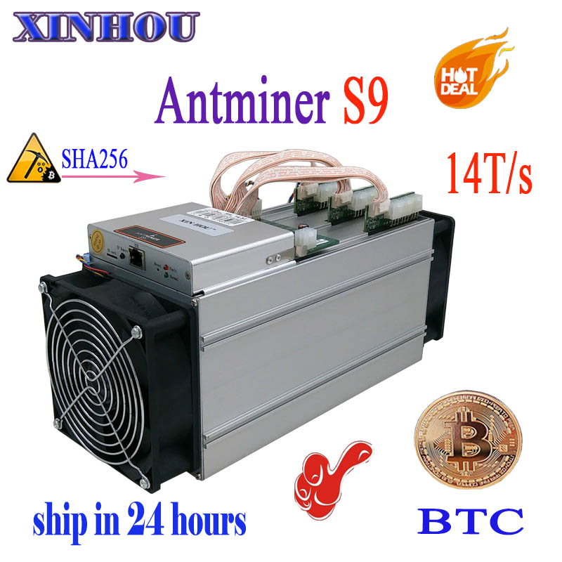 ship in 24 hours ASIC miner AntMiner S9 14T/s SHA256 (With PSU) Btc BCH Miner Better Than Antminer S9 13.5T T9 V9 whatsminer m3 in 24 hours newest btc miner antminer s9j 14 5t with bitmain apw7 1800w psu btc bch miner better than antminer s9 s9i 13 5t t9