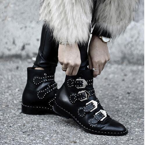 Rivets simili cuir chaussons boucle sangles talon épais noir cheville femmes bottes clouté décoré femme bottes moto