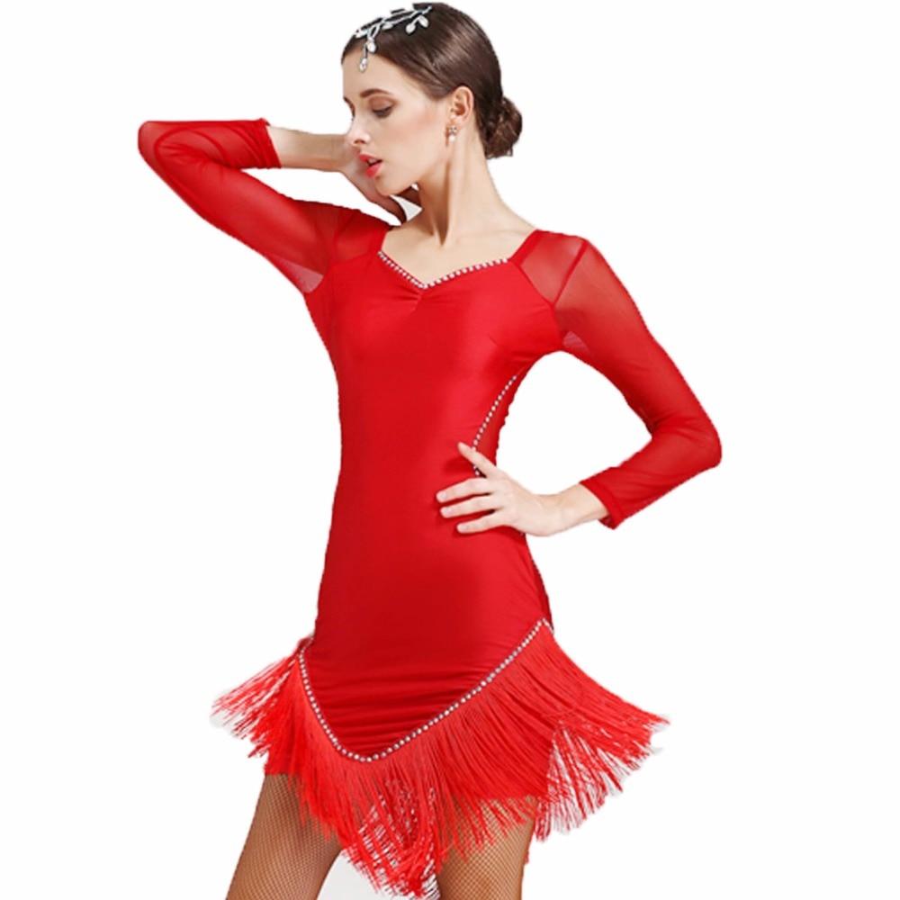 Danse latine femmes salsa dancewear robes de danse robes de concours de salle de bal tango adulte frange femmes gland latin danse costume
